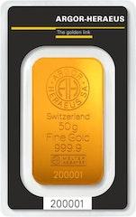 Goldbarren 50 g Heraeus