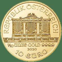 Gold coin 1/10 oz Philharmonic
