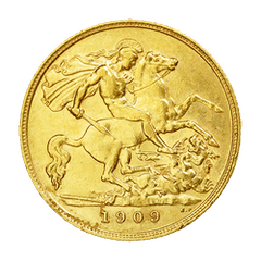 Gold coin Half sovereign United Kingdom
